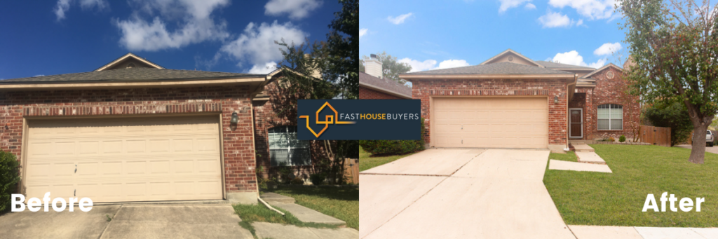 old garage front house & same house renovated by home buying company