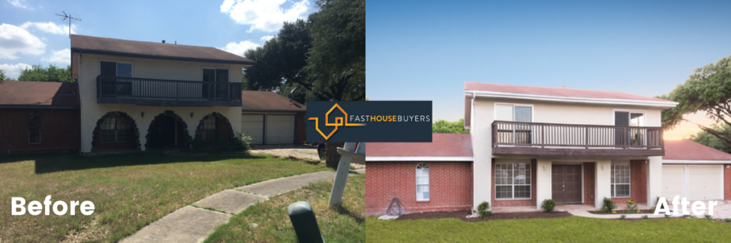 Comparison Images of ugly house in San Antonio Texas vs new house bought by inverstors that buy houses